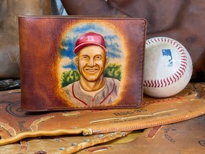 Stan Musial Carved Leather Art Wallet