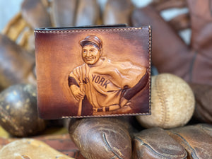 Lou Gehrig Carved Leather Art Wallet