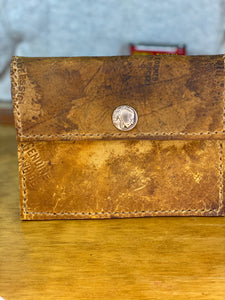 1930's Glove Leather Wallet with Indian Head Nickel Snap
