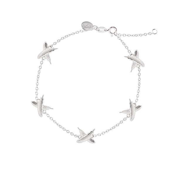 Boh Runga Petite 5 Feather Kisses Bracelet Silver