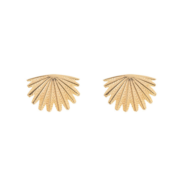 Mini Fan Tail Studs 9CT Yellow Gold