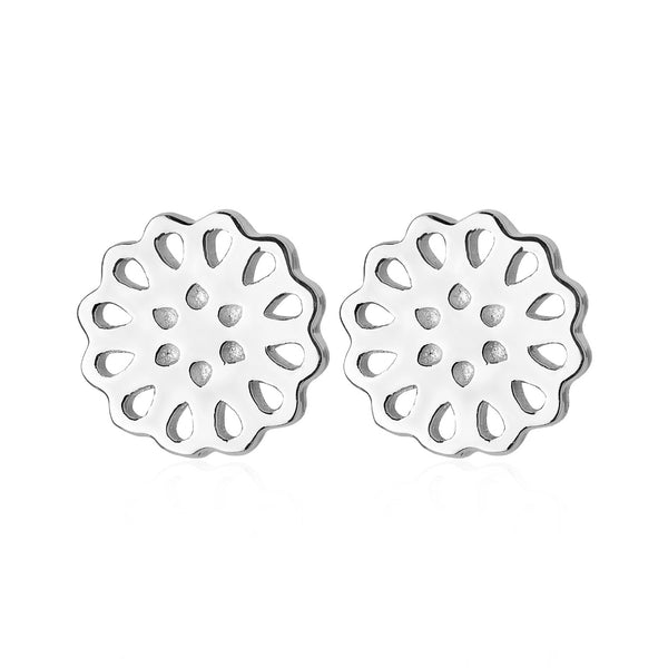 Lotus Stud Earrings Silver