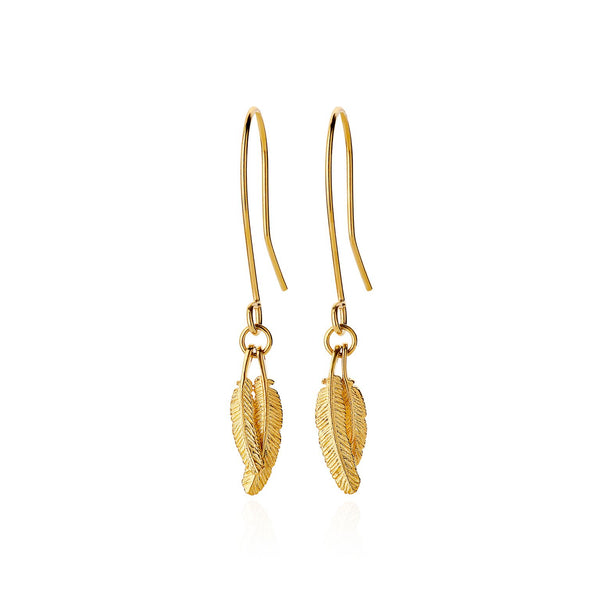 Boh Runga Mini Duo Miromiro Feather Earrings 9CT Gold