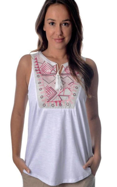 Tammy White Embroided Top