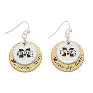 Fancy Mississippi State Two Tone Earrings
