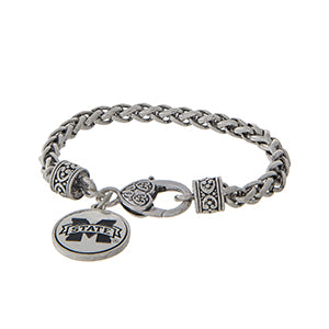MS State Silver Braided Bracelet