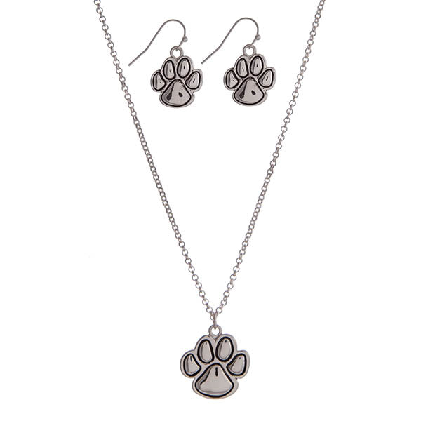 Dog paw necklace and earring set