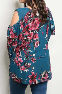 Floral Cutout Shoulder Tunic