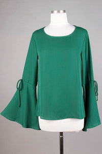 Bell Sleeve Bow Tie Blouse