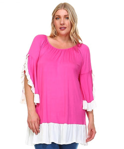 Hot pink tunic with cream trim