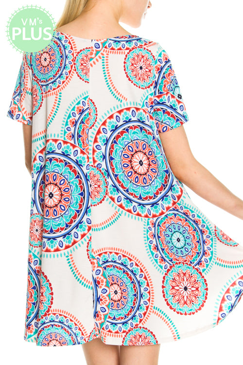 Printed Dress with Pocket Detail