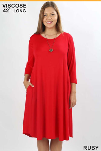 3/4 Sleeve Dress- Ruby