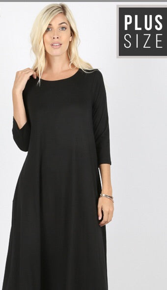 3/4 Sleeve Dress- Black