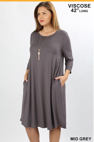 3/4 Sleeve Dress- Mid Gray