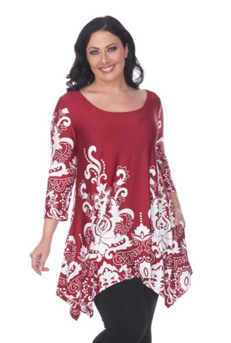 Maroon and white tunic