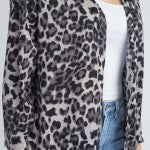 Lightweight leopard knit cardigan