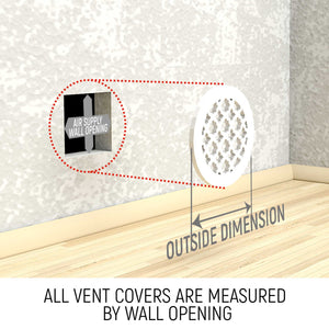 Waves Round Vent Cover - White Collection - Aria Rectangular Vent Cover - Silver Mirror Collection