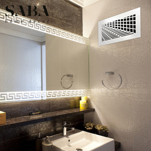 Vivian Vent Cover - White Collection - Aria Rectangular Vent Cover - Silver Mirror Collection