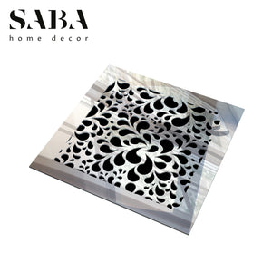 Jasmine Vent Cover - Silver Mirror Collection - Aria Rectangular Vent Cover - Silver Mirror Collection