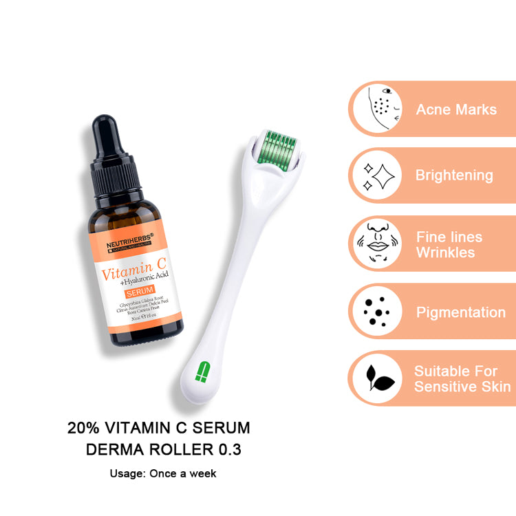 neutriherbs derma roller with vitamin c serum for skin glowing