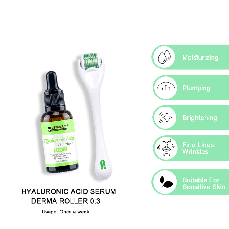 neutriherbs derma roller with hyaluronic acid serum for sensitive skin