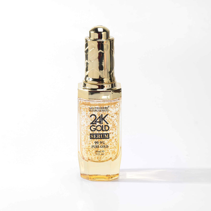 Neutriherbs Luxury 24K Gold Serum with Hyaluronic Acid & Peptide to resist aging signs-Pure 99.9% Goldzan