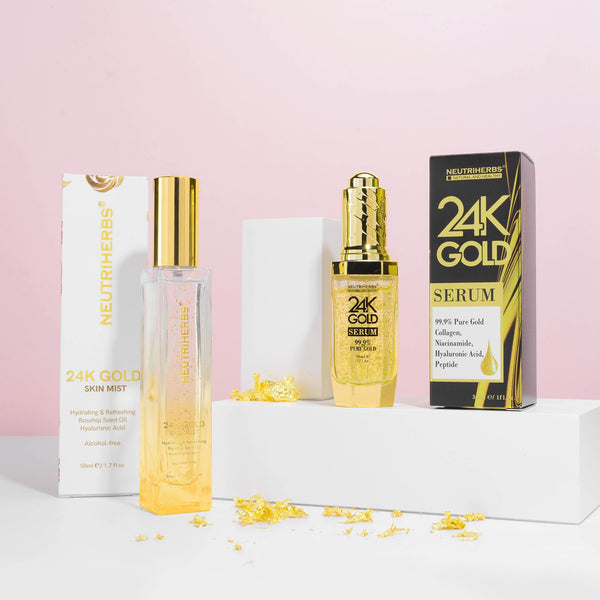Neutriherbs luxury 24 karat goldzan skincare products - best face serum for anti-aging - rose gold 24k skin mist - hydrating face spray