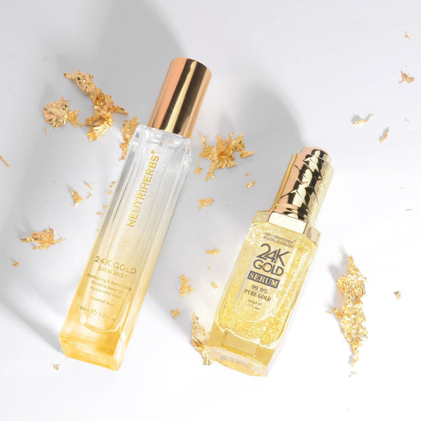 Neutriherbs 24 karat gold serum + skin mist to reduce fine lines and wrinkles - rose water spray for face to hydrating and setting makeup