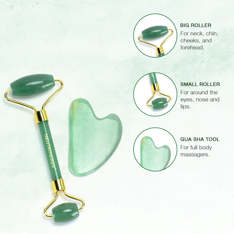 Neutriherbs Jade Roller and Gua Sha Set, 100% Natural Jade Stone Face Roller, Anti-Wrinkle Anti-Aging Skin Care Tool,
