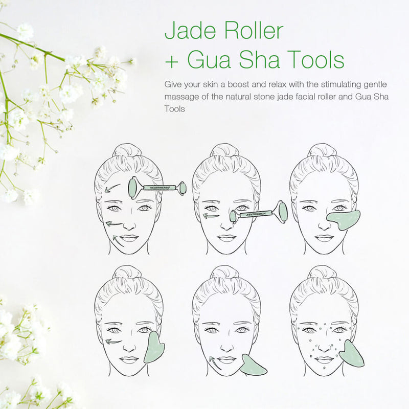 Jade Roller and Gua Sha Scraping Set For Facial Massage & Anti-Aging Treatment