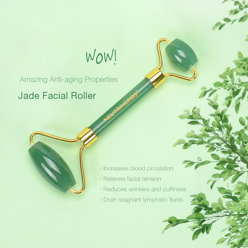 Neutriherbs Jade Roller,Anti-aging 100% Natural Facial Jade Stone for Face and Eyes Massager-Rejuvenate Skin & Remove Wrinkles
