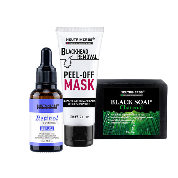 Neutriherbs Retinol Serum + Charcoal Soap+ Mask For Acne Skin