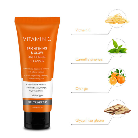 neutriherbs vitamin c facial wash for dull and dry  skin for men and women