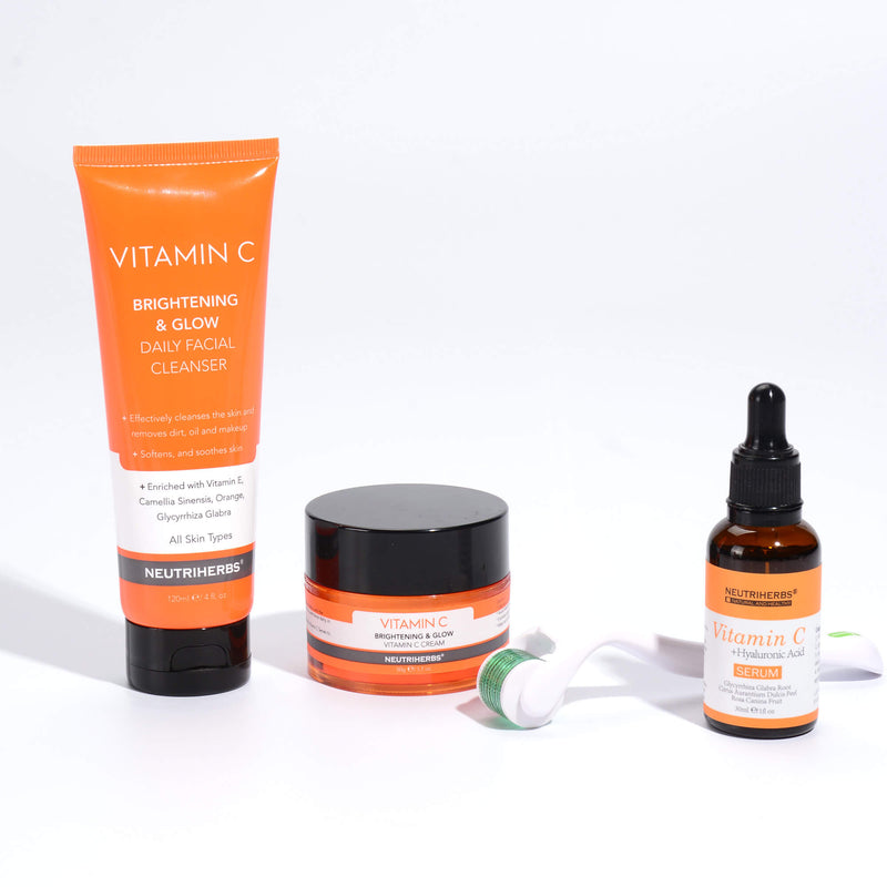 Vitamin C Serum+vitamin c cream+derma roller for skin brightening