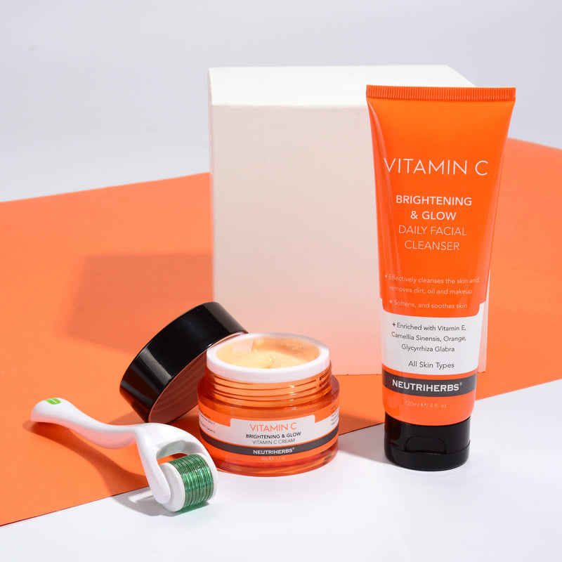 vitamin c cleanser+vitamin c cream+derma roller for skin brightening