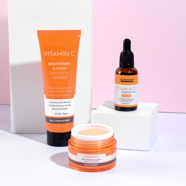 Neutriherbs vitamin c brightening & glow set - vitamin c serum + vitamin c cream + face cleanser