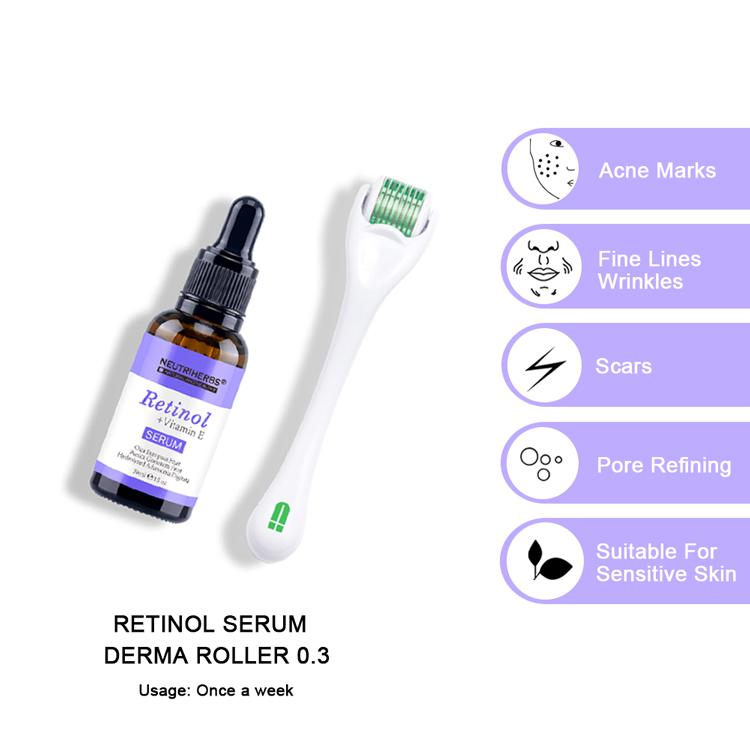 retinol serum after derma roller for acne-prone and oily skin with acne marks