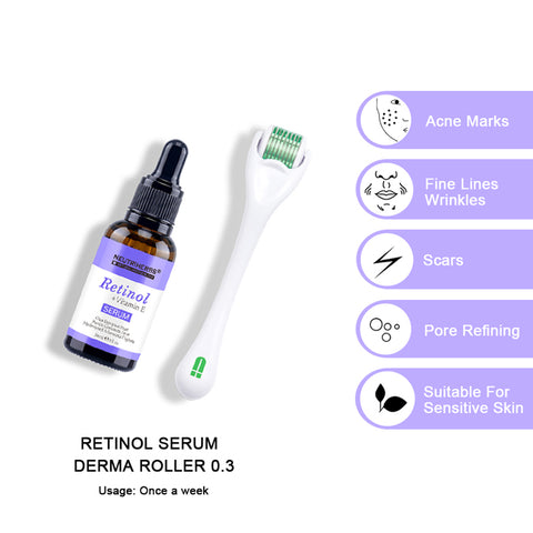 neutriherbs retinol serum with derma roller for ageing and acne-prone skin
