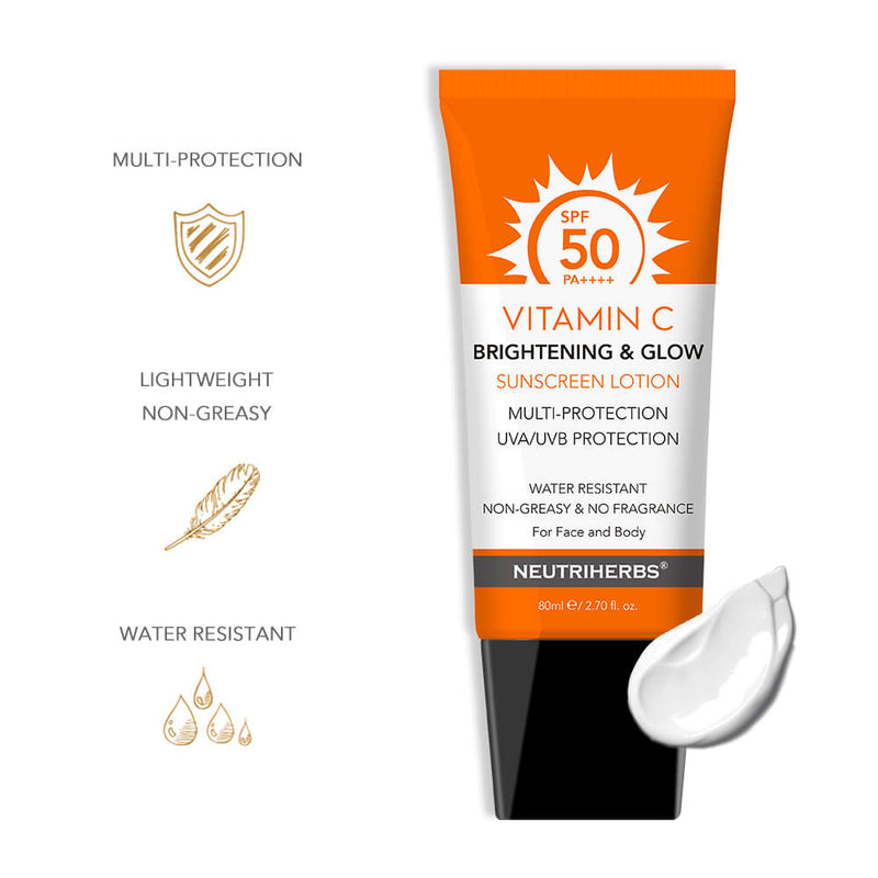 Neutriherbs sunscreen with zinc oxide and titanium dioxide SPF50 for face and body