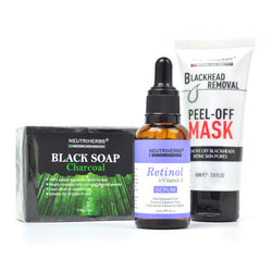 neutriherbs blackhead mask retinol serum charcoal soap to remove blackhead and acne