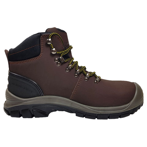 Work Boots in Brown Leather with Water Resistant Uppers