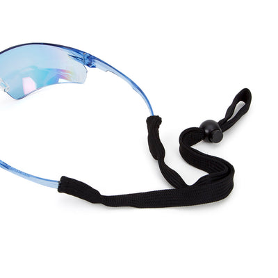 Univet 505 Blue Lens Safety Glasses Close Up with Neck Cord