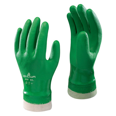 Showa 600 Gloves PVC Coated Green Gardening Safety
