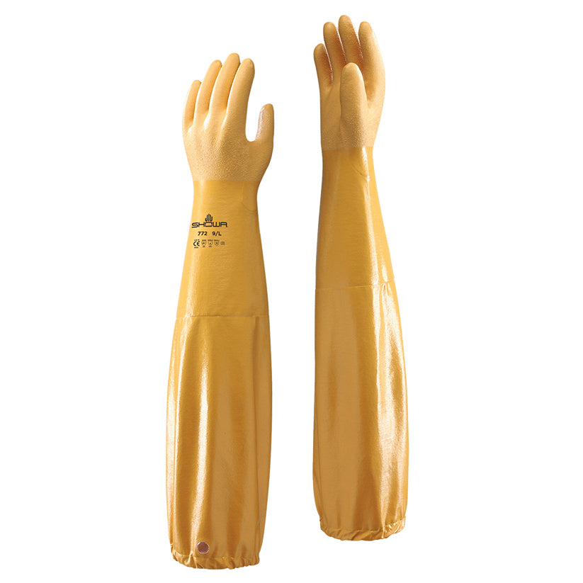 "Showa 772 ARX Nitrile 24"" Long Sleeve Gauntlets For Entire Arm"