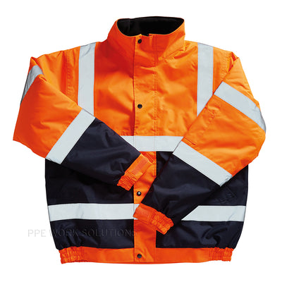 Blackrock Hi Vis Bomber Jacket Two Tone Contrast Hi-Vis Orange / Navy