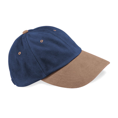 Beechfield Low Profile Heavy Brushed Cotton Cap French Navy / Taupe