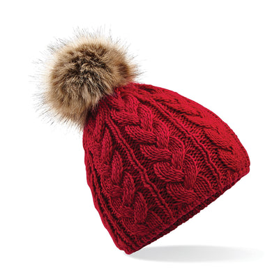 Beechfield Fur Pom Pom Cable Beanie Classic Red
