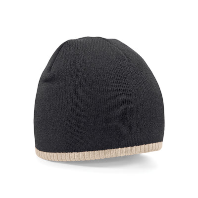 Beechfield Two-Tone Pull On Beanie Black / Stone