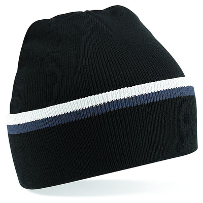 Beechfield Teamwear Beanie Black / Graphite Grey / White
