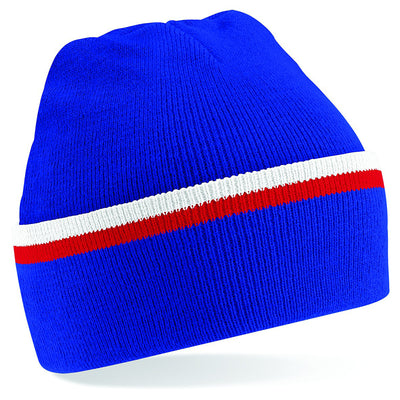 Beechfield Teamwear Beanie Bright Royal / Classic Red / White